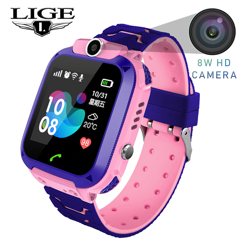 LIGE 2019 New Children Watch LBS Secure Base Station Positioning Tracking SOS Emergency Call Smart Gift