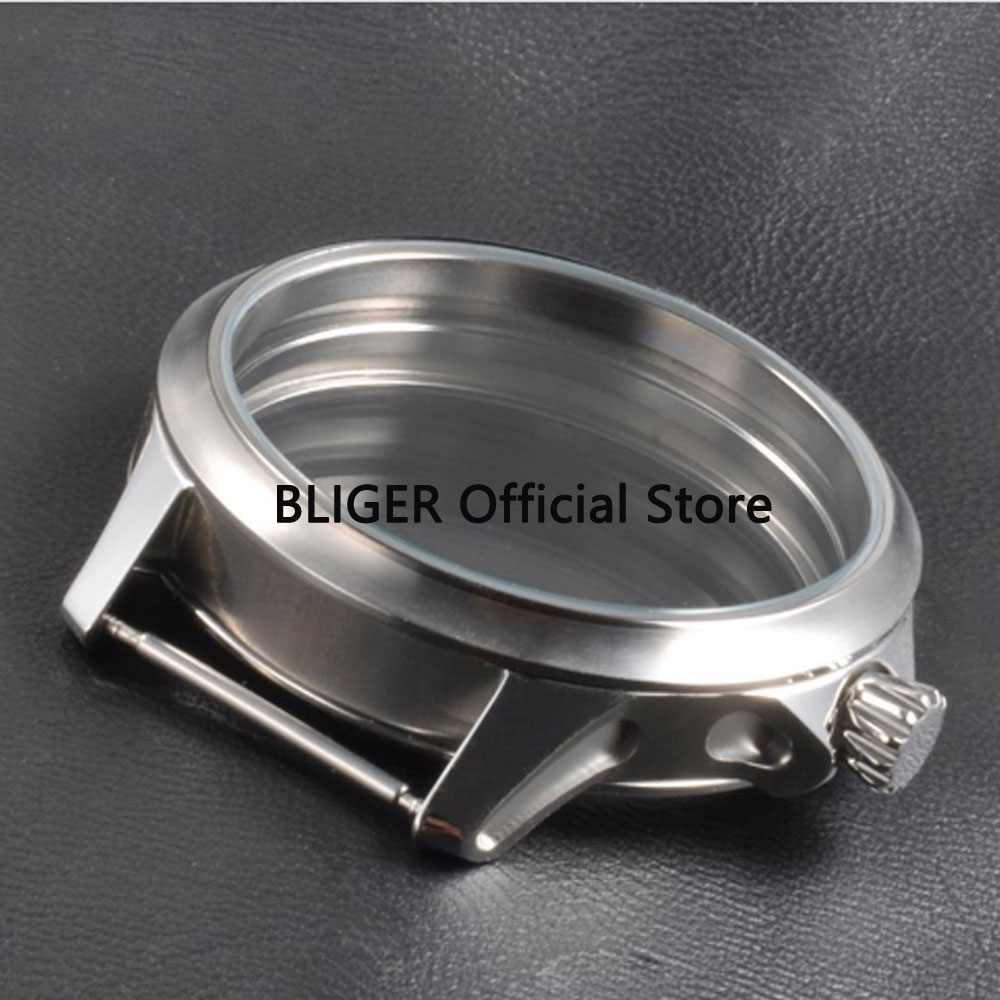 BLIGER 45MM Sterile Stainless Steel Watch Case Fit ETA 6497 6498 Hand Winding Movement C33