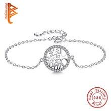 Classic 925 Sterling Silver Tree of Life Charm Pulsera para Las Mujeres Cadena de Plata de la CZ Crystal Mujeres Joyería de La Navidad