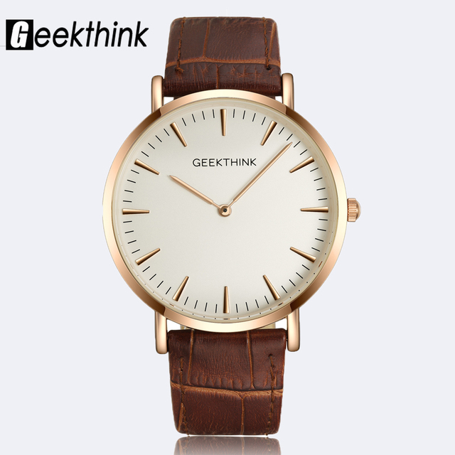 GEEKTHINK Minimalist ultra thin Top Brand Luxury Quartz watch men Business Casual Rose Gold Japan quartz-watch genuine leather