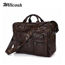 100% First Layer Genuine Leather Men's Messenger Bags 2016 Hot Sale Vintage Business Men Travel Bag Briefcases Portfolio DB4742