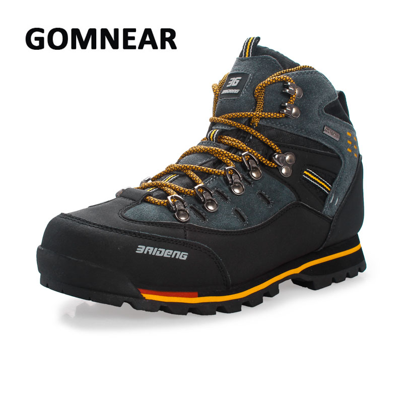 GOMNEAR High Top Men Hiking Shoes Waterproof leather Shoes Climbing & Fishing Shoes New popular Outdoor shoes Tekking Boots yin qi shi man winter outdoor shoes hiking camping trip high top hiking boots cow leather durable female plush warm outdoor boot