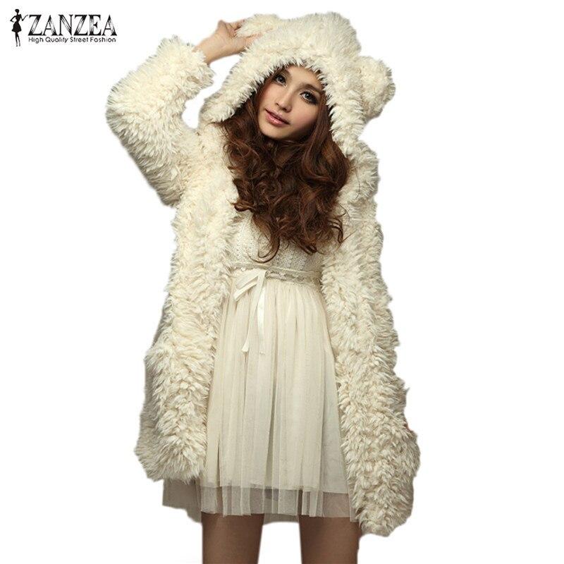 ZANZEA női kapucnis pulóver Fleece szőrme kabát 2018 téli meleg teddy medve fülek puha kabát vastag kabát kapucnis hosszú ruházat