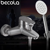 BECOLA 304 Stainless Steel Shower Faucet Bath Faucet Mixer Tap With Stainless Steel Slide Bar Shower Set BECOLA SUS2