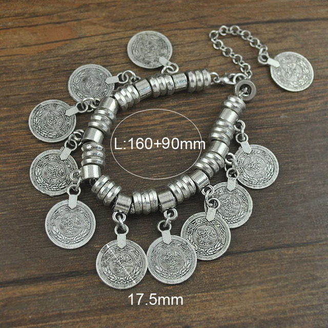 Punk Silver Coin Bracelet Adjustable Handmade Floral Boho Gypsy Beachy Ethnic Tribal Festival Jewelry Turkish Bohemian