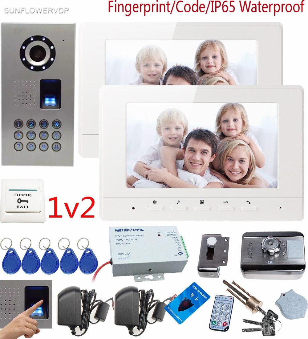 SUNFLOWERVDP Videotelefono Impronte Digitali Porta CCD Fotocamera Campana 7 Interne di Colore