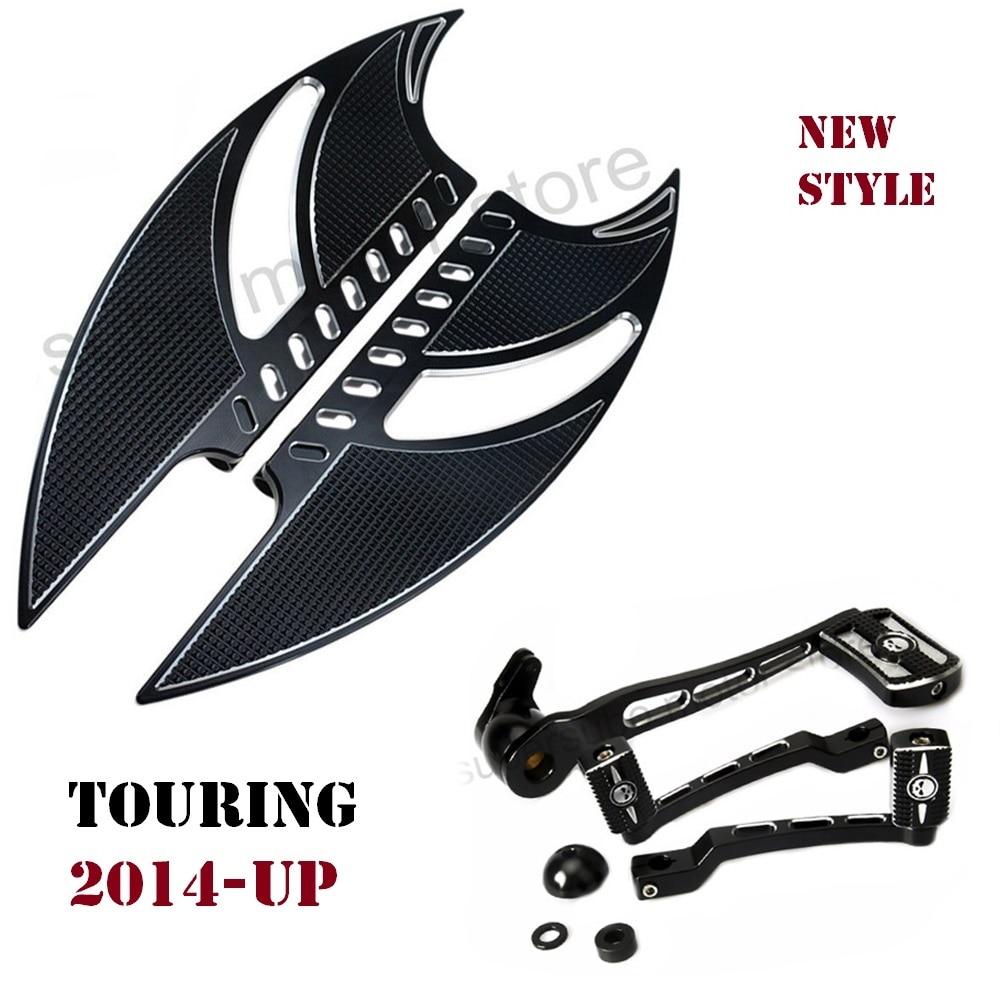 2014-2019 Black Tomahawk Footboard For Harley Road King Floorboards Harley Brake Arm Kits Shifter Shift Lever For Harley Touring