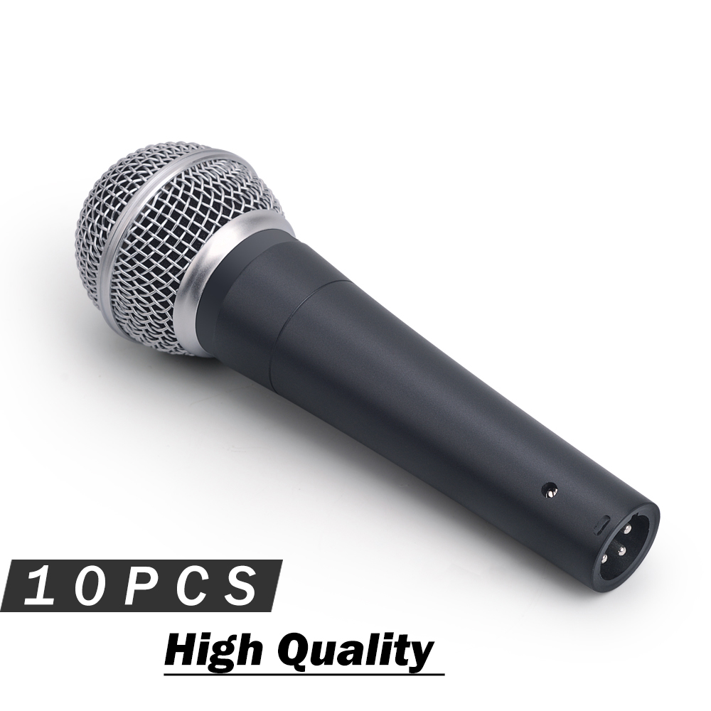 10PCS High Quality Dynamic Vocal Microphone 58LC Professional Wired Vocal Karaoke Handheld Dynamic Mic for Live