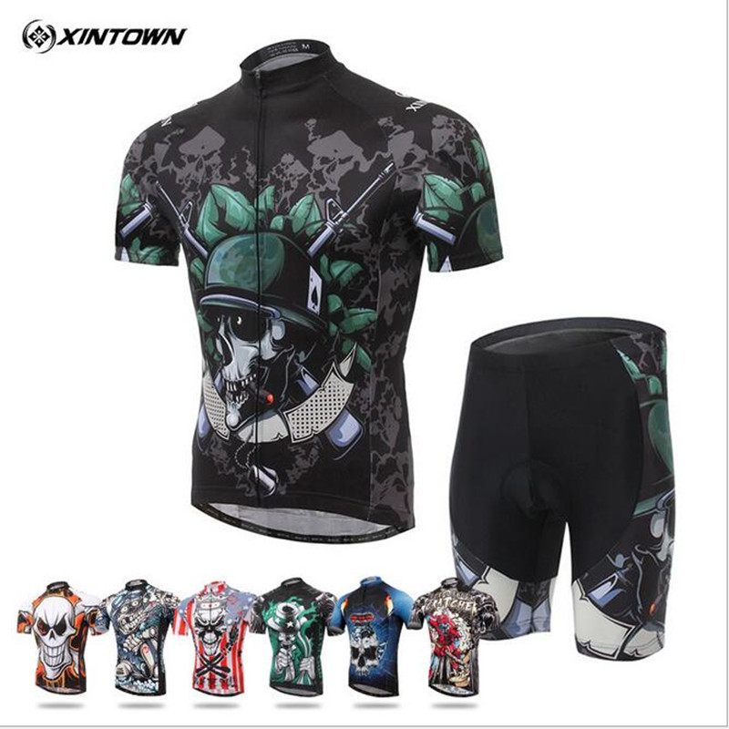 ФОТО 2017 Skeleton Soldier Cycling Jersey White ciclismo ropa tops Team bike bicycle clothing jacket t-shirt Man's Cycling Clothing