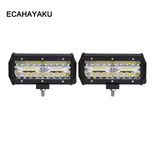 цена на ECAHAYAKU 2PCS 7 inch 60W LED Work Light Bar for Tractor Boat OffRoad 4WD 4x4 Truck SUV ATV Spot Flood COMBO beam driving lights