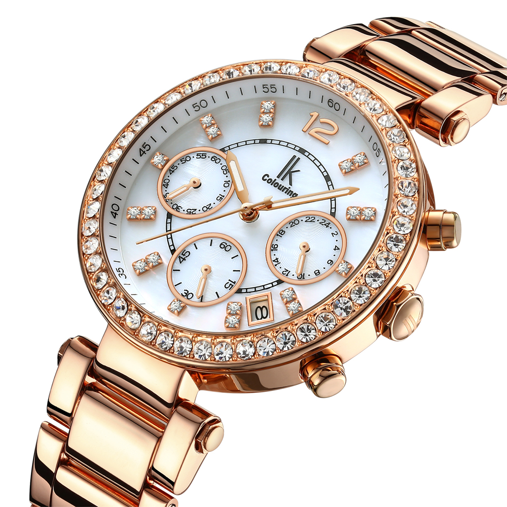 2018 New IK Colouring Luxury Dress Women's Fashion Date Rose Gold Black White Dial Stainless Steel Quartz Watch Wristwatch Gift все цены