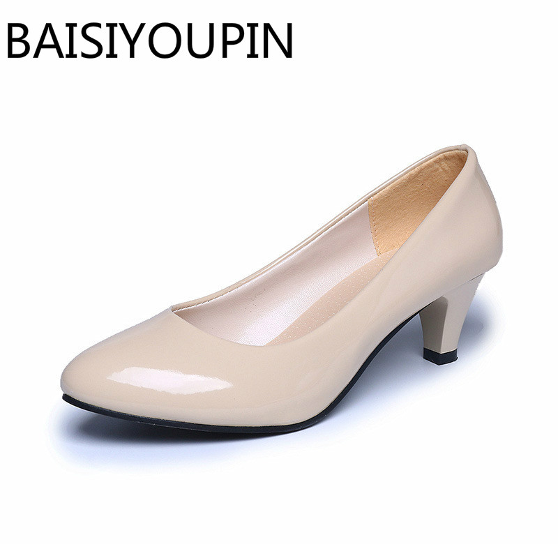 Four Seasons patent leather Low Heels Shoes Women Professional Shoes Ladies Shallow Mouth Work Shoes Black White Office Shoe