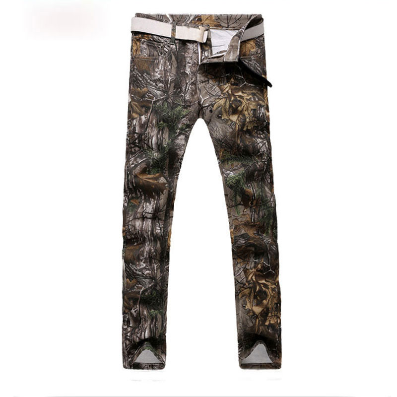 Army Green Men's Skinny Printed Denim Jeans Camouflage Design Slim Washed Biker Pants Casual Cool Forest Painting Trousers 29-38
