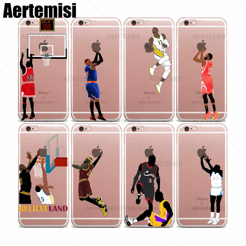 Aertemisi Stephen Curry Derrick Rose Carmelo Anthony claro caso de TPU funda para iPhone 5 y 5s SE 6 6s 7 8 Plus X XS X Max XR