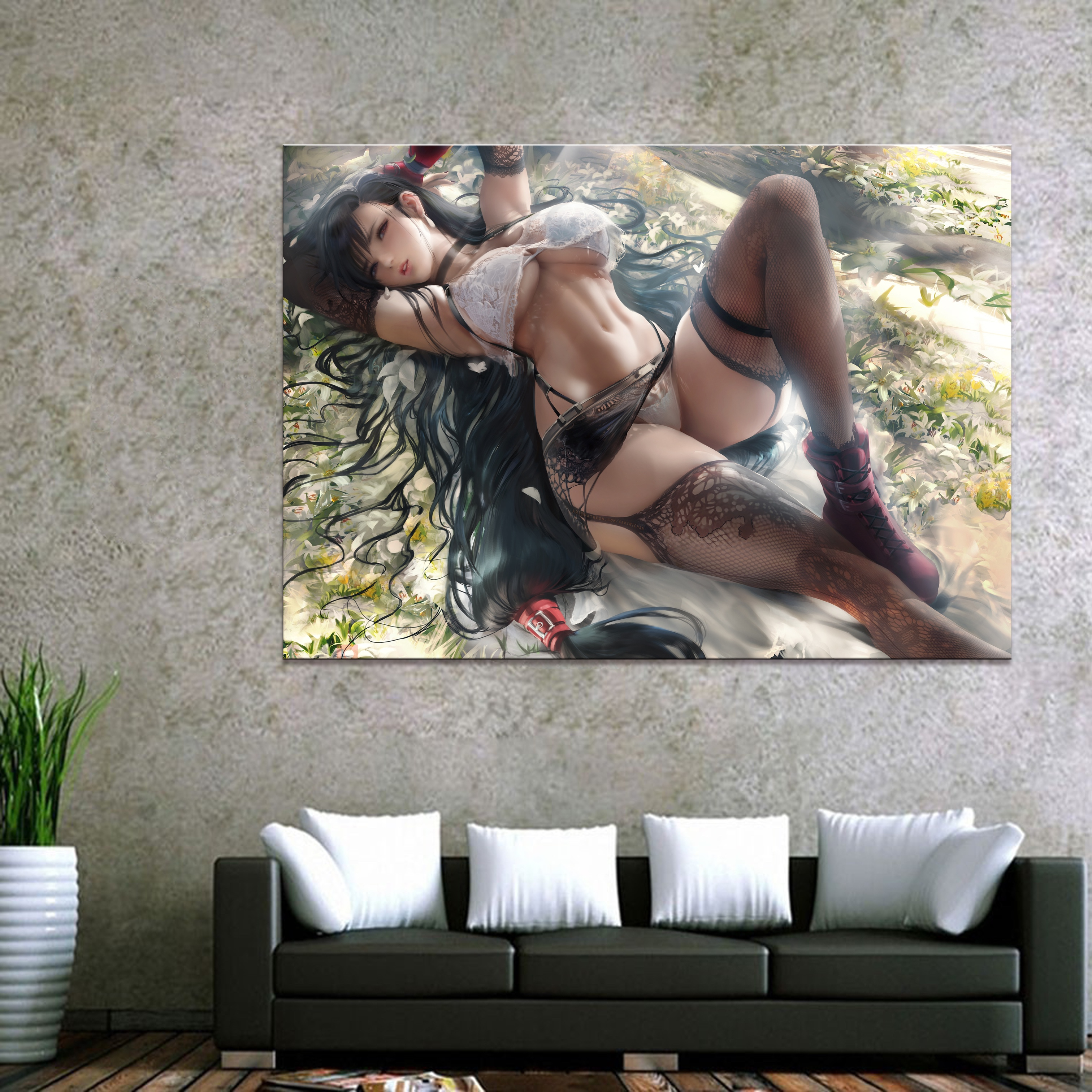 Home Decor Modular Canvas Picture 1 Piece Sexy Tifa Final Fantasy Game Painting Poster Wall For Home Canvas Painting Wholesale