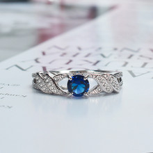 Round Blue AAA Cubic Zircon Rings for Women Fashion Braid Bands Wedding Engagement Jewelry Silver Color