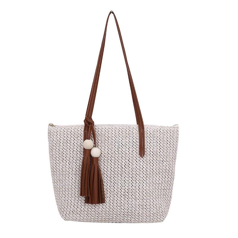 Women Designer Bags Handbags Famous Brands Female Handmade Straw Shoulder Bag Female Summer Beach Bag Tassel Ladies Shopping Bag