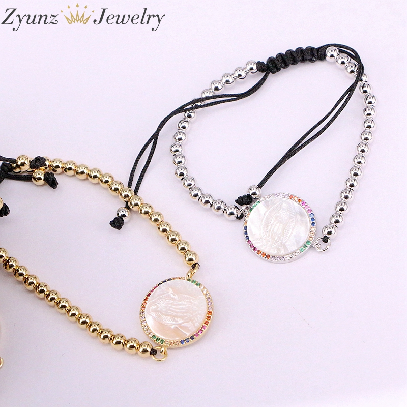Image 2 - 5PCS, Micro Pave CZ Virgin Maria Mother of Pearl Shell Bracelet Adjustable Link Bracelet Women Jewelry-in Charm Bracelets from Jewelry & Accessories