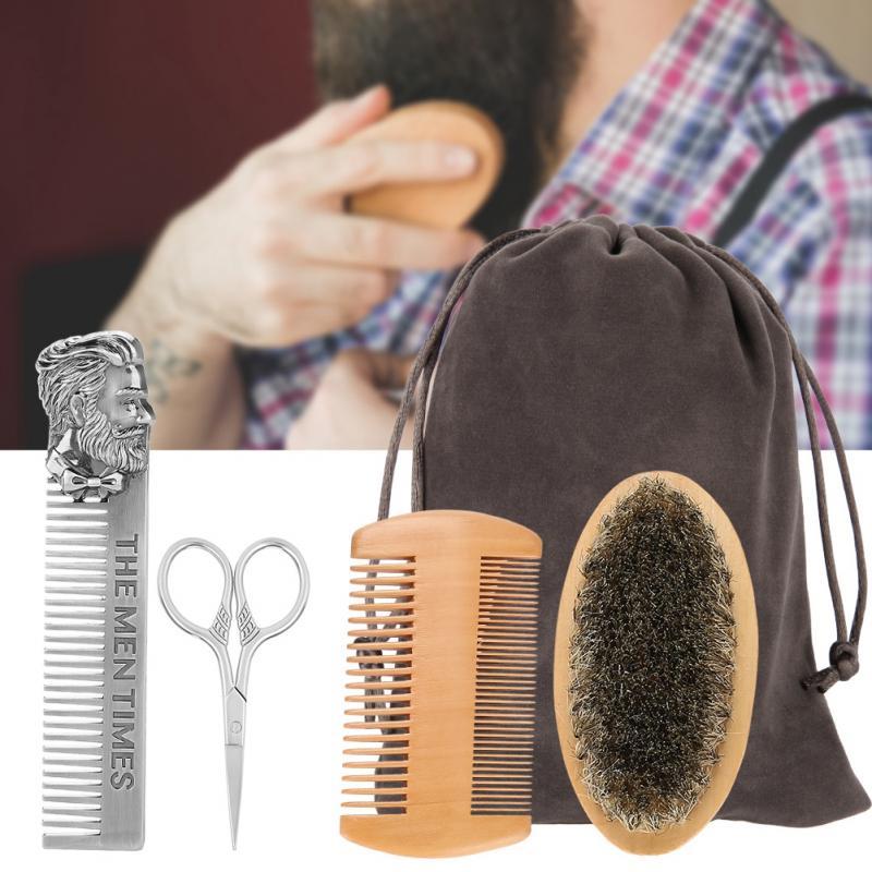 TMISHION Men Moustache Brush Kit with Moustache Comb Scissor Storage Bag Repair Beard Modeling Cleaning Care Kit 1