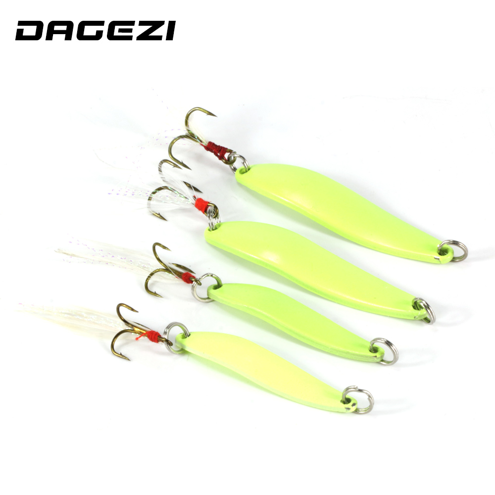 DAGEZI Metal Spinner Spoon Lure Luminous Hard Baits Sequins Noise Paillette with Feather Treble Hook fishing Tackle 5/7/10/13g fish king 1 pc 24g fishing lure spoon lure noise sequin paillette carp hard fishing baits with 4 mustad treble hook lure