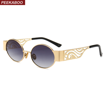 קוקו חלול מתכת מסגרת משקפי שמש נשים סגלגל 2019 יוניסקס גברים עגול משקפיים שמש steampunk uv400 זהב שחור אדום