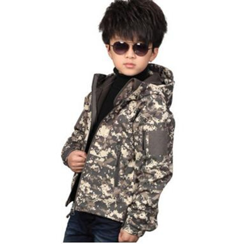 Outdoor Children Tactical Shark Skin Softshell Camouflage Hooded Coat Kids Sport Camping Waterproof Clothes Overcoat Jackets lurker shark skin soft shell v4 military tactical jacket men waterproof windproof warm coat camouflage hooded camo army clothing