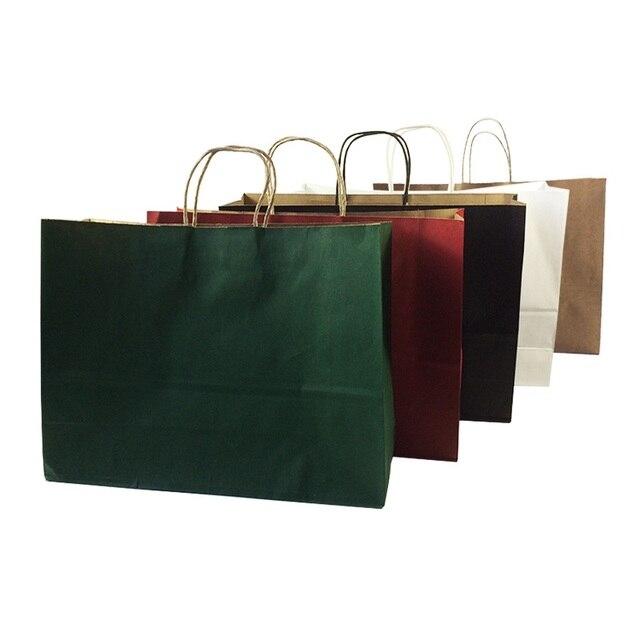 10 pçs/lote Multifuntion Sacos de Papel Kraft Com Alça Multicolor Opcional Presente Holiday Party Saco de Embalagem Reciclável 42*31*13 cm