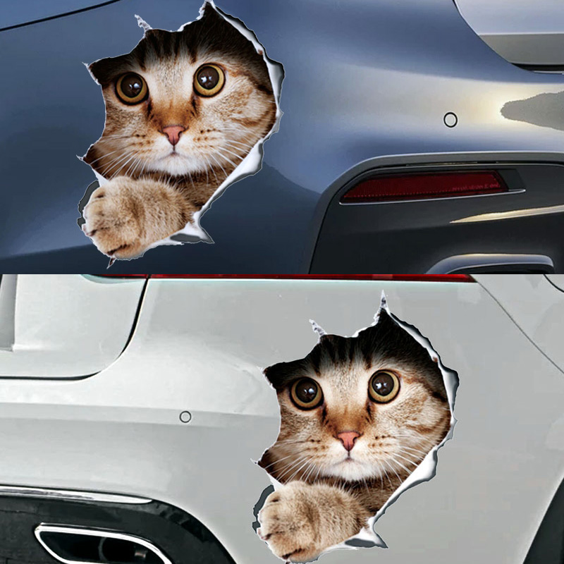 13*18CM fashion car accessories 3D  stereo anime funny creative personality kitten simulation car styling(China)
