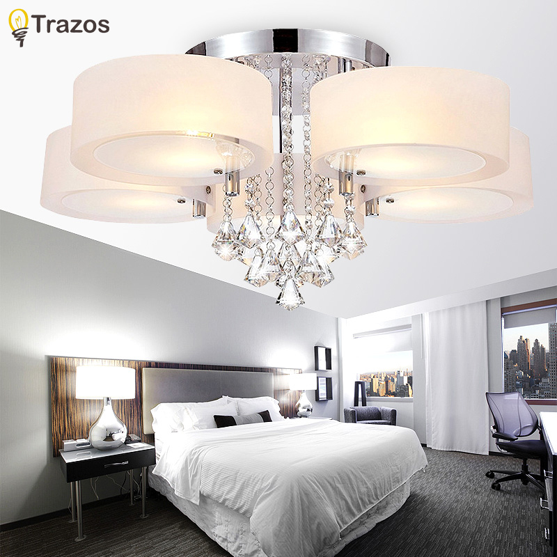 Modern led ceiling light crystal lustre luminarias para for Modern living room ceiling lights