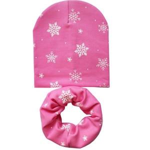 Осенне-зимний детский комплект с шапками для мальчиков и девочек, детская шапочка, шарф с рисунком совы, снежинки, сердца, в горошек, детская хлопковая шапка, шарф