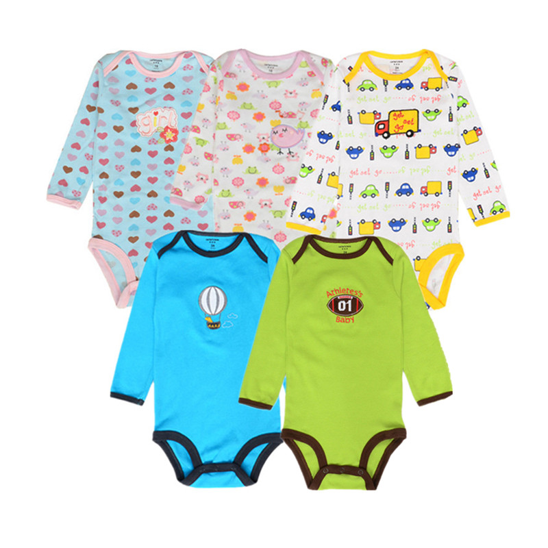 0383ac096664e 5 pcs lot Baby Bodysuit 100% Cotton Toddler Jumpsuit Spring Baby Girls Boys  Newborn Baby Overall Clothes