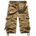 Elegante Bermuda Masculina Solto Shorts Da Carga Dos Homens Da Praia do Verão Ocasional Algodão Multi-Bolso Capris Calças Curtas Plus Size
