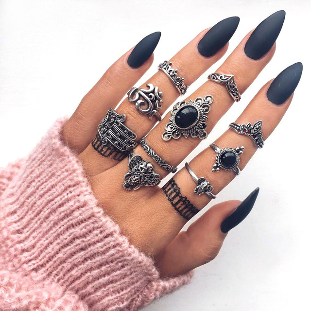 10 Pcs/set Bohemian Retro Elephant Crown Flower Black Adjustable Silver Ring Vintage Jewelry Accessories Rings For Women