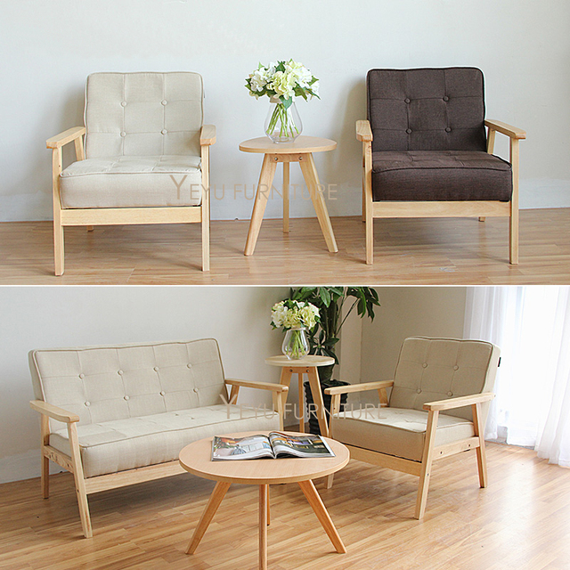 Desain Minimalis Modern Kain Empuk Ruang Tamu Sofa Kayu Solid Kayu
