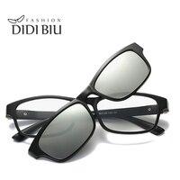 DIDI Rectangle Polarized Magnet Clip On Sunglasses Women Men TR90 Titanium Sun Glasses Double Lens Myopia Optical Frames W709