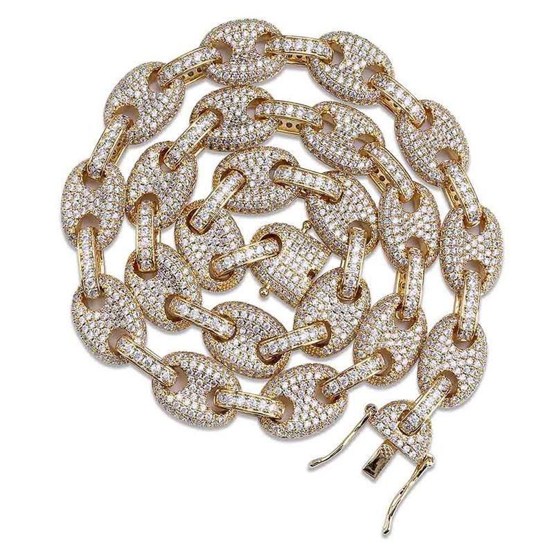 Chaîne en or pour hommes glacé chaîne cubaine de luxe bijoux Hip Hop Hipster hommes zircon cubique chaînes collier