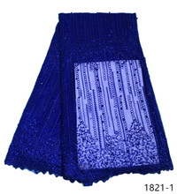 2019 New arrival African net lace with beads French fabric royal blue Net Lace Material for party dress 1821
