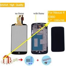 ORIGINAL For LG E960 Google Nexus 4 E960 LCD Touch Screen with Digitizer Assembly With Frame for lg e960 lcd Display Complete стоимость