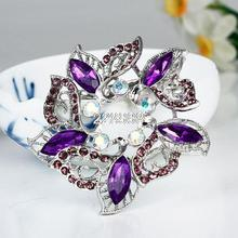 Hot Sale New Fashion Female Purple  Exquisite Alloy Resin Rhinestone Brooch,Delicate and Cheap Brooch For Ladies Dress