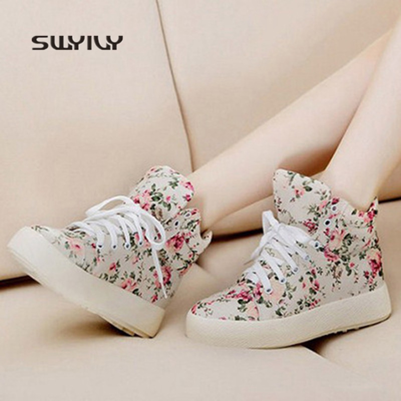 SWYIVY Women Walking Shoes Printing Flowers Canvas Inner Height Sneakers  2018 New Lace up Sweet Girls Shoe Light Female Sneakers-in Walking Shoes  from ... 06748edee67f