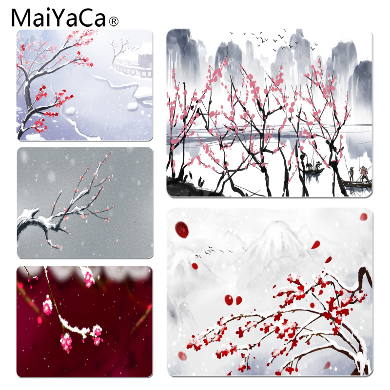 MaiYaCa Plum landscape illustration Large Mouse pad PC Computer mat Size for 18x22x0.2cm Gaming Mousepads