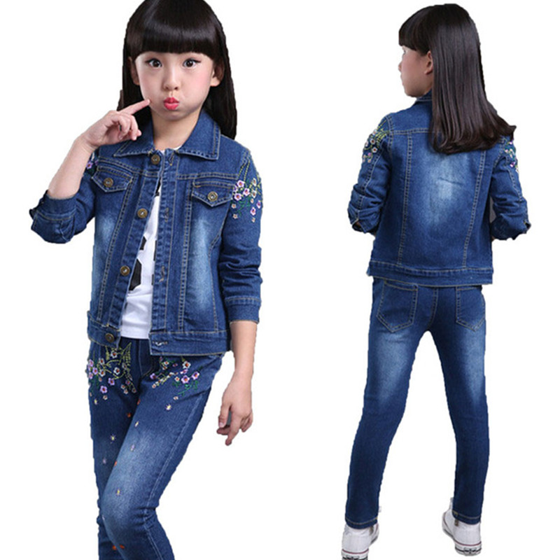 Kids Sports Cowboy Suits Spring Autumn Children clothes set Jacket Fashion Long Sleeve Girls Clothing Sets 2 Pieces Cowboy Suit