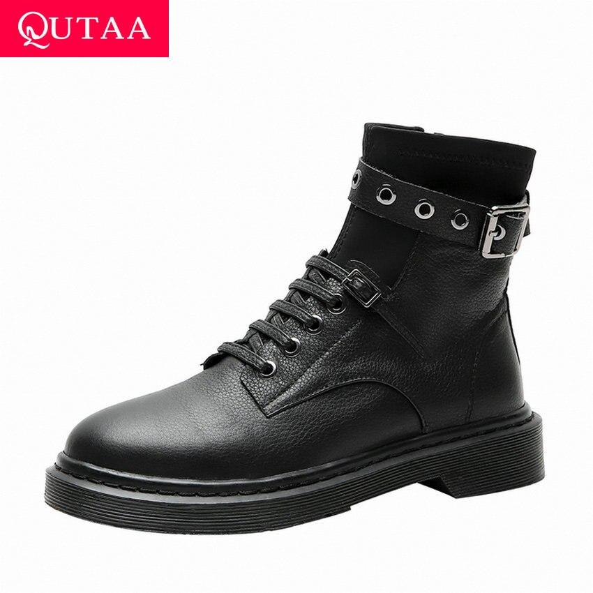 Qutaa 2020 round toe fivela plataforma casual tornozelo botas de salto baixo couro genuíno rendas até zíper moda feminina sapatos tamanho 34-42