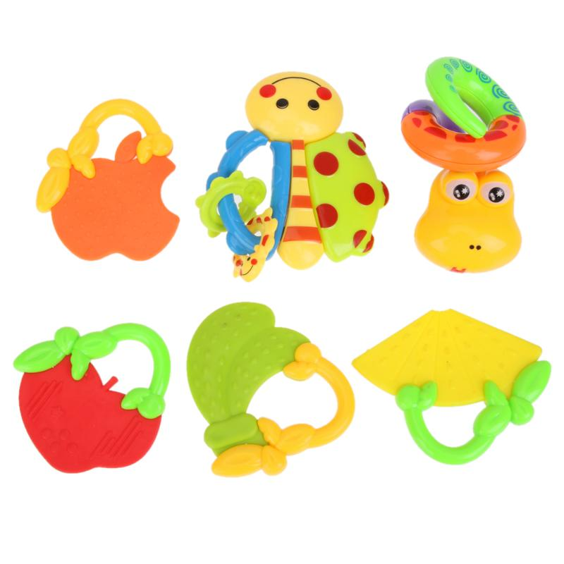 6pcs/set Infant Animal Fruit Shape Handbells Early Listening Developmental Toy Bells Baby Rattle Handbells Best Birthday Gift
