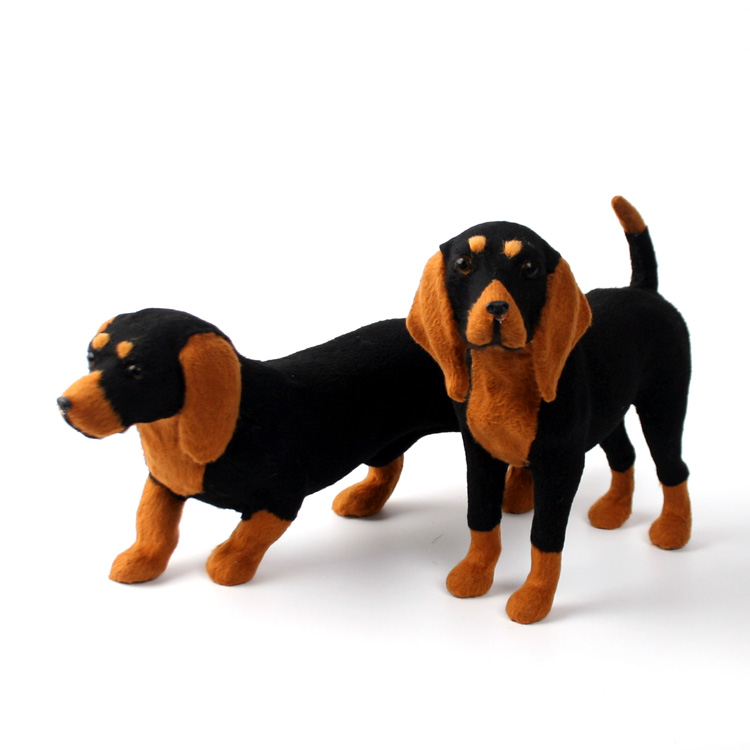 1pcs Handicraft Simulation Dog Toy Fur Animals Creative Home Gift Ornaments Model Toys Dachshund Beagle Gift