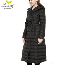 Hot 2016 Snow Winter Women's Anorak 90 % White Duck Down Jacket with Belt Longer Section Knee Hooded Double Breasted Jackets