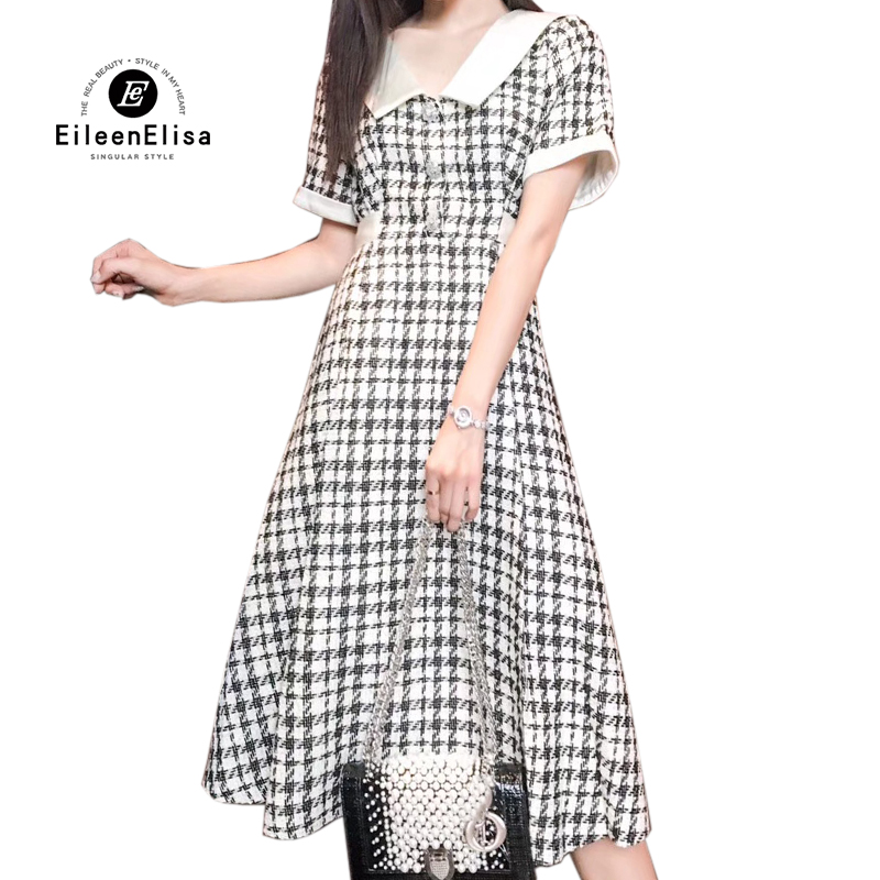 Dress Women Elegant Short Sleeve A-Line Long Dresses Summer Houndstooth Woman Dress 18 2