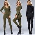 New Stylish Plain Zipper Placket Hooded V-Neck Long Sleeve Jumpsuit Bodybuilding Workout Black Army Green Women Jumpsuit