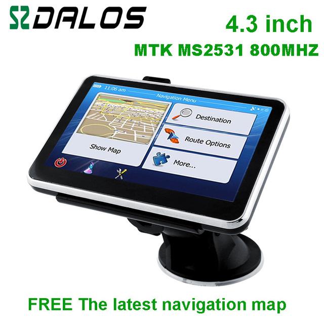 New design 4.3 polegada sistema de navegação gps com mapa do mundo para a escolha