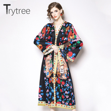 d9a16f49c04 Trytree printemps robe imprimé Lion femmes Flare manches Polyester bohème  robes v-cou réglable ceintures